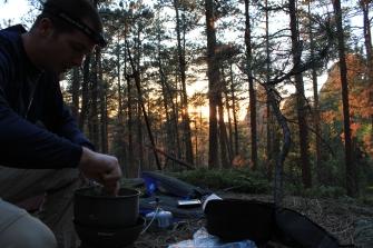 Black Hills backpacking, South Dakota backpacking, cooking dinner in the black hills, sunset in the black hills