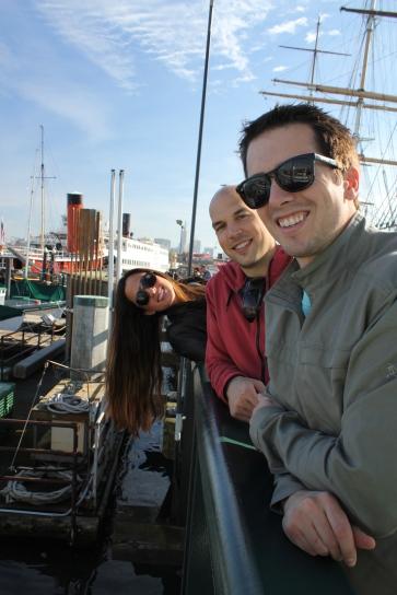 San Francisco Bay in december, friends on the dock