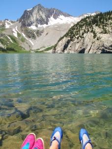 Snowmass Lake swimming, Maroon Bells backpacking, aquasox are still fashionable