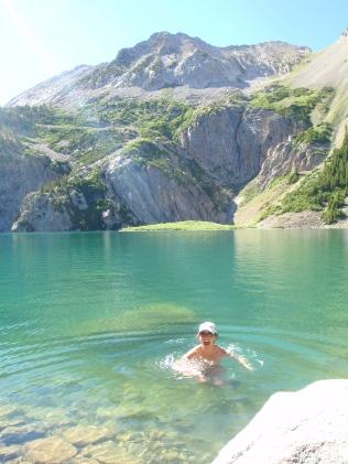 Snowmass Lake swimming, Maroon Bells backpacking