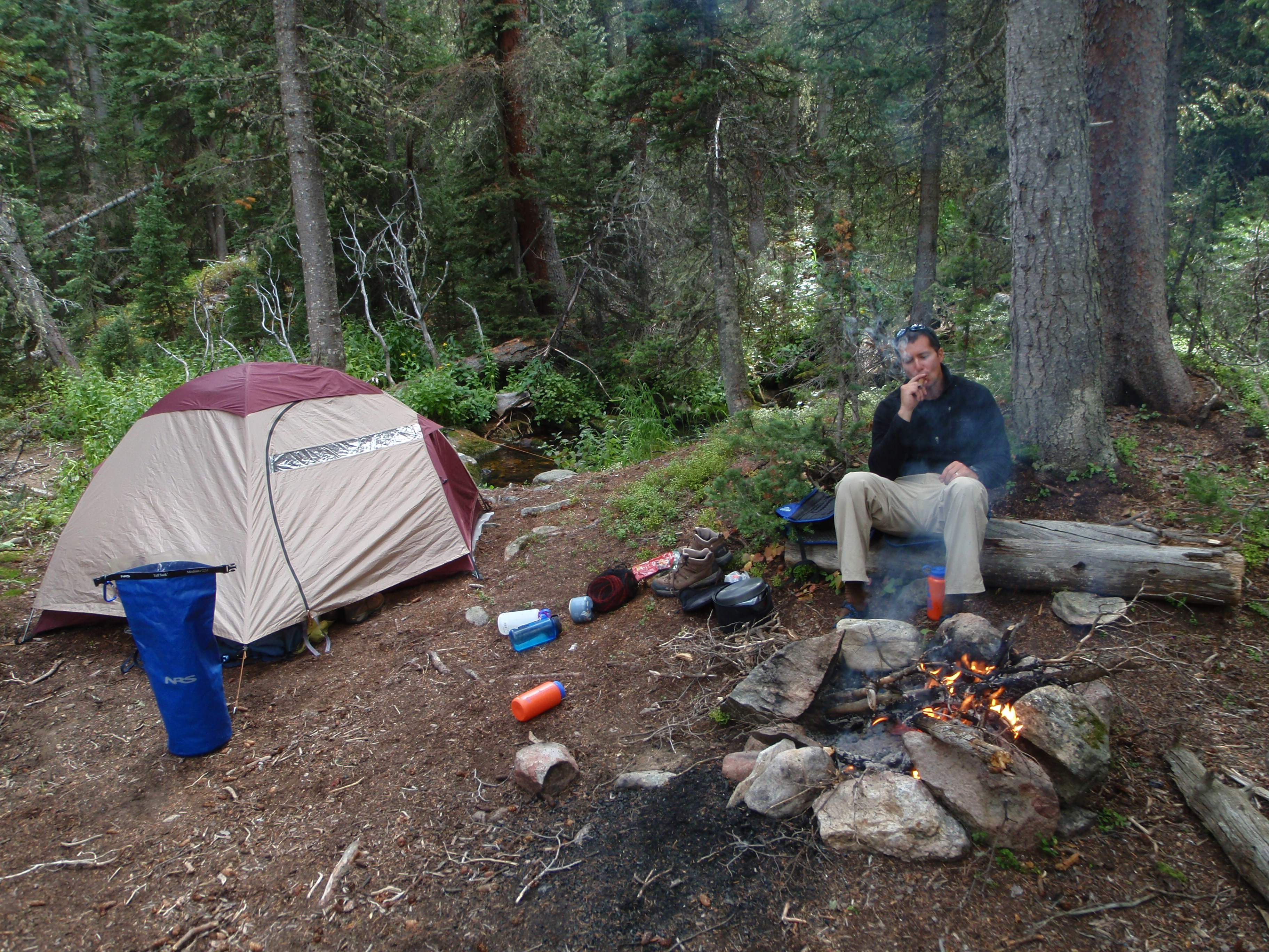 Comanche Peaks Wilderness backpacking, cigar at camp, cigar by the fire