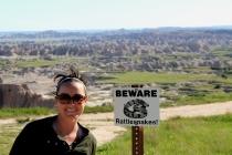 Badlands National Park rattlesnake, wife hates snakes, putting on a brave face, badlands snakes