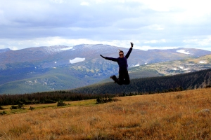 September, backpacking, jumping, meadow