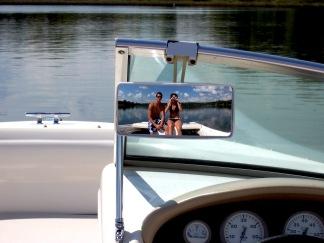 ski mirror selfie, Turtle Lake Wisconsin, happy honeymoon
