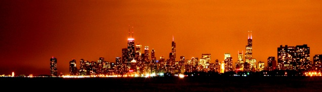 Chicago skyline at night, chicago yellow glow