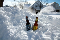 Illinois snow storm, beer after shoveling, goose island in the snow, improvised cooler