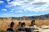 Comanche Peaks Wilderness, resting from backpacking, sore feet, Colorado