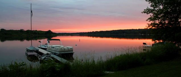 Turtle Lake, Wisconsin summer sunset, dock full of boats