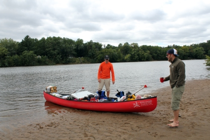 Wisconsin River canoeing, overloaded canoe, Wisconsin River camping