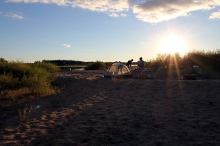 Wisconsin River camping, Wisconsin River beach, setting up camp