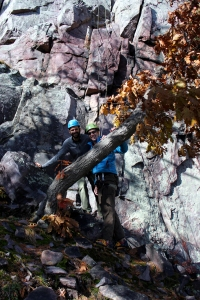rock climbing, Devil's Lake, Wisconsin, fall