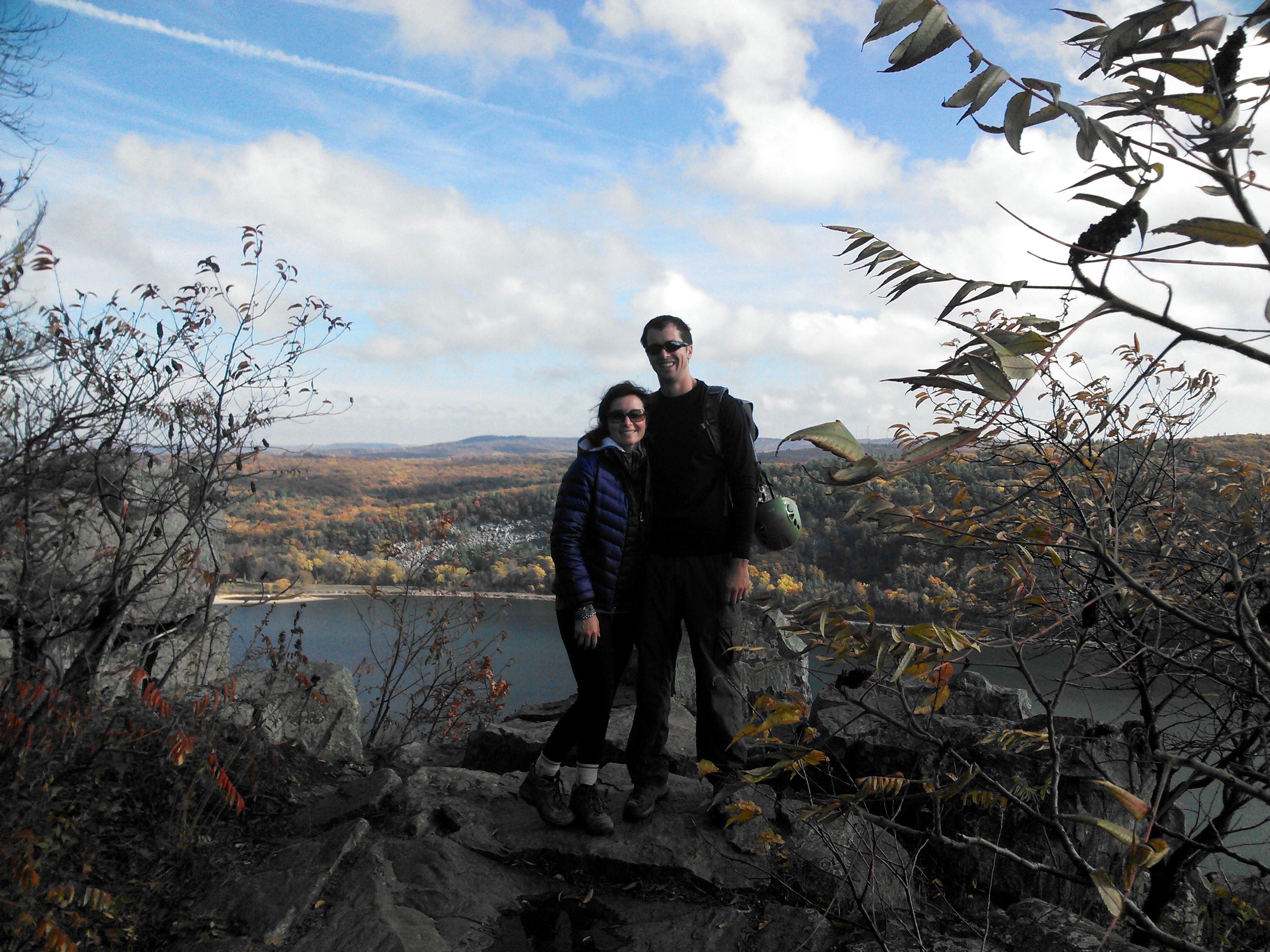 Devil's Lake rock climbing, , Wisconsin in the fall