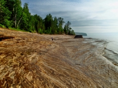 Michigan, Upper Peninsula, rock beach, sunset, backpacking, camping