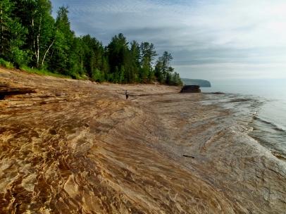 Michigan, Upper Peninsula, rock beach, sunset, backpacking, camping