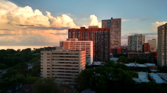 chicago highrise, chicago weather, chicago sunset