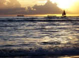Hawaiian sunset, waikiki sailboat