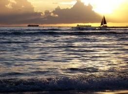Hawaiian sunset, waikiki sailboat