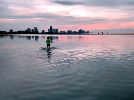 Chicago beach, chicago skyline, chicago sunset, beach sunset, toddler at the beach