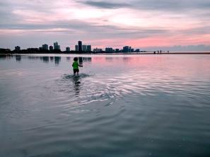 Chicago beach, chicago skyline, chicago sunset, beach sunset, toddler at the beach