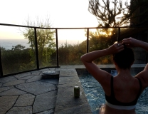 carmel higlands, carmel by the sea, hyatt monterey, monterey, monterey bay, hot tub sunset, fit girl, fit mom