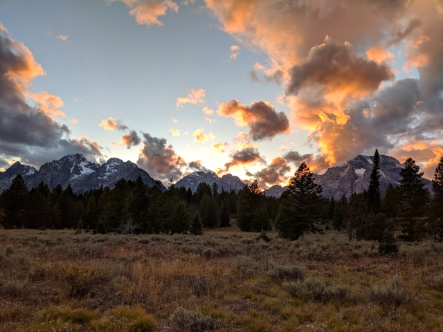 wyoming sunset, grand teton national park, dusk, mordor