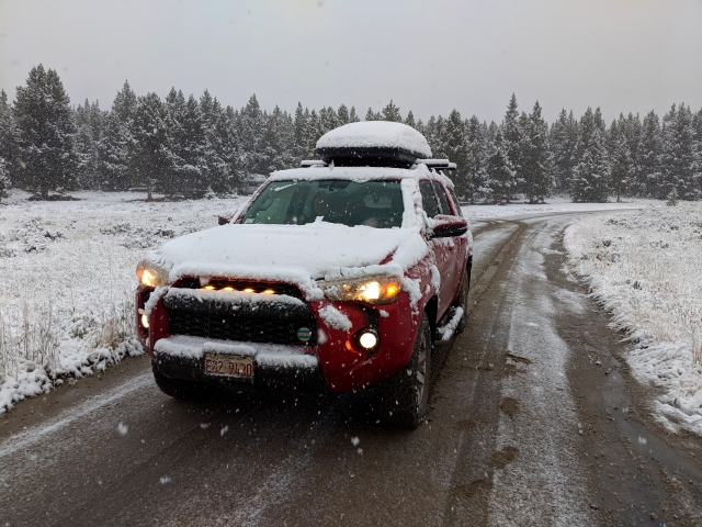 bighorns snow, bighorns snow, 4runner, toyota 4runner, road trip, 4runner camping, thule force on 4runner, 4runner grille lights, 4runner trd,